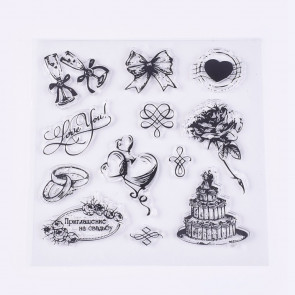 silikonske štampiljke 13.5~65x16~55 mm, ljubezenski/poročni motivi, 1 komplet