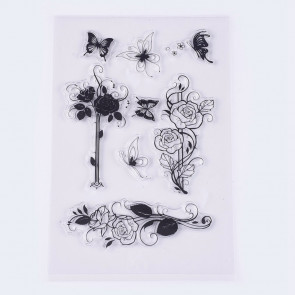 silikonske štampiljke 18~94x16~43 mm, rože in metulji, 1 komplet