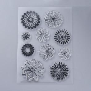 silikonske štampiljke 160x110x3mm, cvetlice, 1 komplet