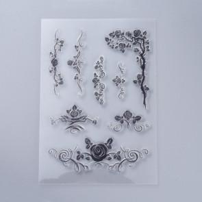 silikonske štampiljke 160x110x3mm, cvetlični vzorec, 1 komplet