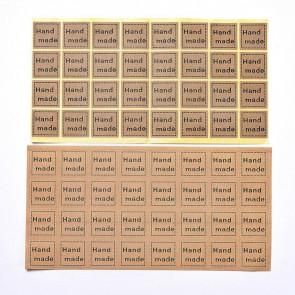 """samolepilne nalepke """"Hand made"""", rjave b., velikost nalepke: 2,5x2,5 cm, 1 komplet - 32 nalepk"""