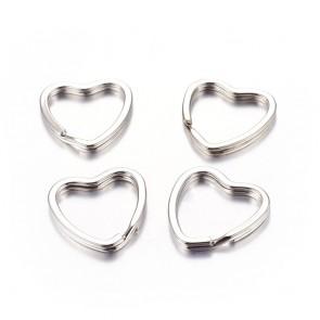 osnova za obesek (za ključe) 31x25x3 mm, srce, platinaste b., 1 kos