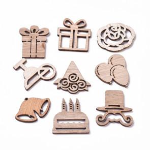 leseni ornament, rojstnodnevna zabava/božič, naravna b., 24.5~31.5-20.5~29.5 mm, mix, 10 kos
