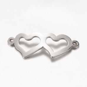 obesek/vmesnik za nakit, dva srčka, 31.5x12.5x1 mm, luknja: 1.5 mm, nerjaveče jeklo, 1 kos