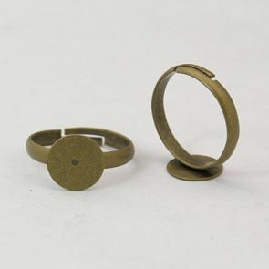 osnova za prstan s ploščico 10 mm, premer nastavljivega obročka: 19 mm, antik, brez niklja, 1 kos