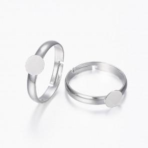 osnova za prstan s ploščico 6 mm, premer nastavljivega obročka: 17 mm, srebrne b., 1 kos