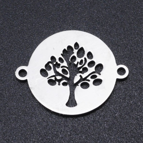 obesek/vmesnik za nakit, oblika drevo življenja, 19x15x1 mm, nerjaveče jeklo, 1 kos