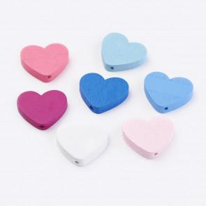 lesene perle, oblika srca, 5x21x23.5 mm, luknja: 2 mm, mix, 50 g