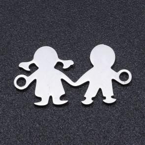 obesek/vmesnik za nakit,oblika deklica in deček, 16x10x1 mm, nerjaveče jeklo, 1 kos