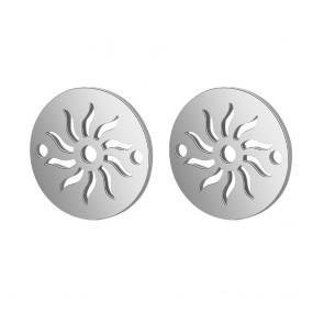 obesek/vmesnik za nakit, ploščat krog s soncem, 11.5x1 mm, velikost luknje: 1.5 mm, nerjaveče jeklo, 1 kos