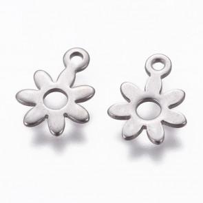 obesek za nakit, oblika cvet, 11x8x0.9, nerjaveče jeklo, 1 kos