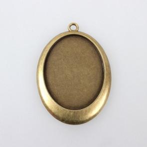 osnova za obesek - medaljon 54x38x3 mm, antik, brez niklja, velikost kapljice: 30x40 mm, 1 kos