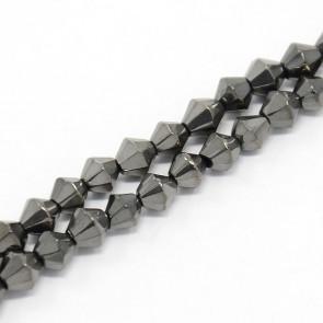 steklene perle - bikoni 4 mm, sive AB, 1 niz - cca 82 kos