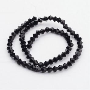 steklene perle - bikoni 4 mm, črne b., 1 niz - cca 82 kos