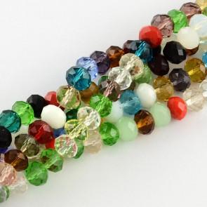 steklene perle, nepravilno okrogle 8x6 mm, mix, 1 niz - cca 72 kos