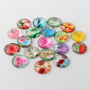 steklena kapljica 25 mm, cvetje mix, 1 kos