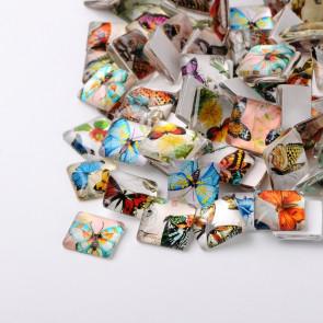 steklena kapljica 20x20x5 mm, s sliko metulja, mix, 1 kos