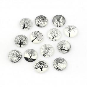 steklena kapljica 25 mm, drevesa na beli podlagi, mix,1 kos