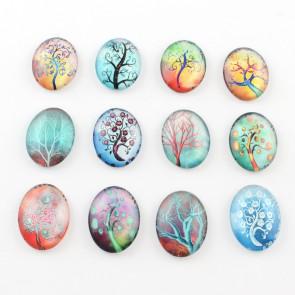 steklena kapljica 25x18 mm, drevesa mix, 1 kos