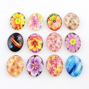steklena kapljica 30x40 mm, cvetje mix, 1 kos