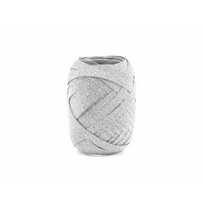 darilni trak - jajček, 5 mm x 10 m, glitter - srebrne b., 1 kos