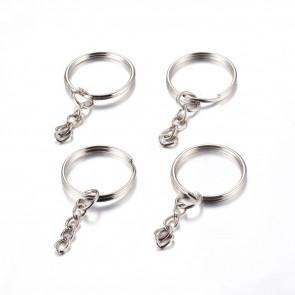osnova za obesek (za ključe) 25x2 mm, platinaste b., 1 kos