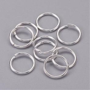 zaključni obroček 12 mm (zunanji premer), srebrne b., debelina: 1.2 mm, notranji premer: 9.6 mm, 10 g (cca 32 kos)