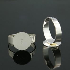 osnova za prstan s ploščico 12 mm, premer nastavljivega obročka: 18 mm, srebrne b., brez niklja, 1 kos