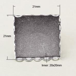 nastavek za prstan 17mm/20x20 mm, platinaste b., 1 kos