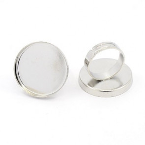 osnova za prstan za kapljico 25 mm, premer nastavljivega obročka: 17mm, platinaste b., 1 kos