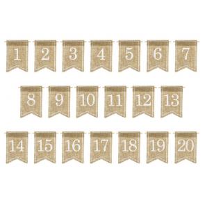 oznake miz, juta, 7x10,5 cm, 1 komplet (20 kosov)
