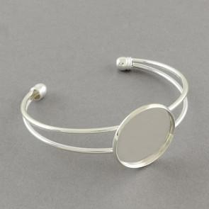 kovinska osnova za zapestnico 64 mm, srebrne b., velikost kapljice: 25 mm, 1 kos