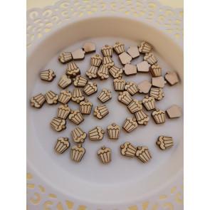lesena kapljica - mafin, cca 10 mm, naravna, 1 kos