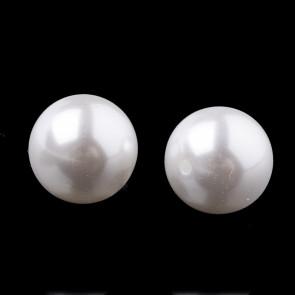plastične perle - imitacija biserov - z luknjo iz ene strani (luknja je izvrtana do polovice), velikost: Ø10 mm, velikost luknje: 1.6 mm, barva: pearl white, 100 kos