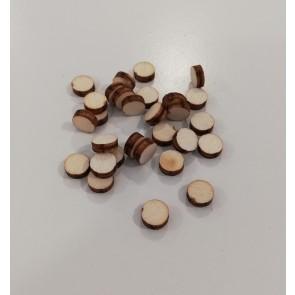 lesena kapljica - okrogla 8 mm, ploščata,  naravna, 1 kos