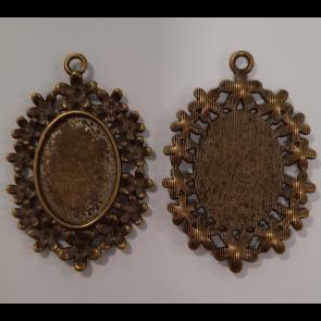 osnova za obesek - medaljon 33.5x50x2mm, antik, velikost kapljice: 18x25 mm, 1 kos