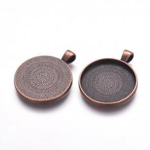 osnova za obesek - medaljon 41x33x4mm, b. bakra, velikost kapljice: 30 mm, 1 kos