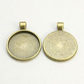 osnova za obesek - medaljon 36x28x3mm, antik, brez niklja, velikost kapljice: 25 mm, 1 kos