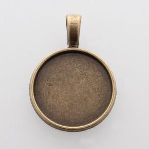 osnova za obesek - medaljon 32x23x2 mm, antik, brez niklja, 1 kos