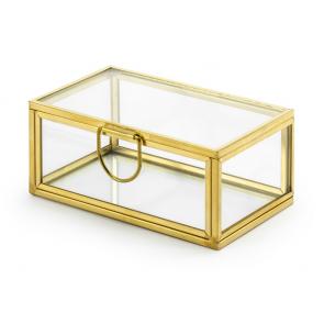 steklena skrinjica za prstana, zlate b., 9x5,5x4 cm, 1 kos