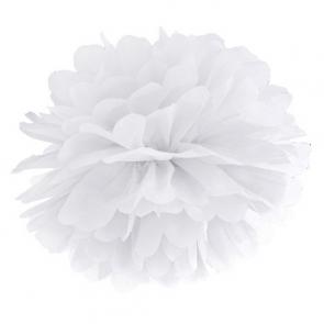 pompom krogla, bela, 25 cm, 1 kos