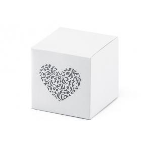 darilna embalaža, 5x5x5 cm, bela s srčkom, 1 kos