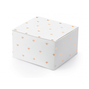 darilna embalaža, 6x3,5x5,5 cm, bela s srčki, 1 kos
