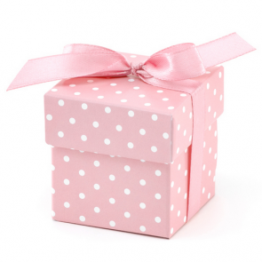 darilna embalaža, 5,2x5,2x5,2 cm, roza s pikami, 1 kos