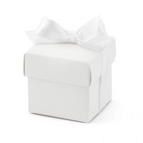 darilna embalaža, 5,2x5,2x5,2 cm, bela s trakom, 1 kos