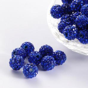 fimo perle s kristali sapphire, 10 mm, velikost luknje: 1.5 mm, 1 kos