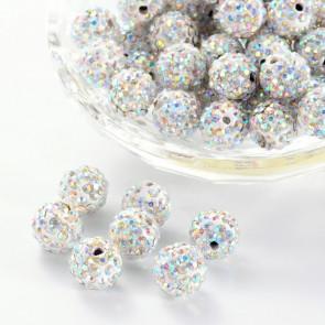 fimo perle s kristali Crystal AB, 10 mm, velikost luknje: 1.5 mm, 1 kos