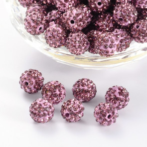 fimo perle s kristali Light Amethyst, 10 mm, velikost luknje: 1.5 mm, 1 kos