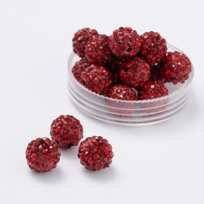 fimo perle s kristali Siam, 10 mm, velikost luknje: 1.5 mm, 1 kos