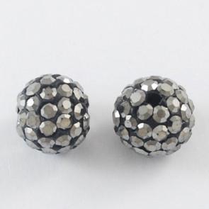 fimo perle s kristali Hematite, 10 mm, velikost luknje: 1.5 mm, 1 kos